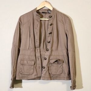 New York & Company Brown/Taupe Buttoned Jacket